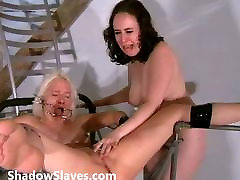 Two slaves bizarre pussy punishments and whipping to tears