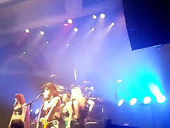 Girl flashing big tits to get on stage