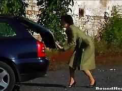 Nerdy Mistress training lesbian slave girl for work