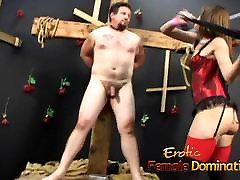 Mistress Brandi Lyons tests her slaves limits in a bdsm