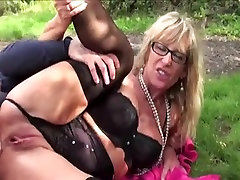 Mature Blonde In Lingerie Fucked Outdoors