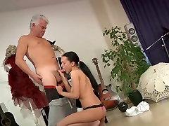 Busty school girl ass fucking, cock sucking with old teacher