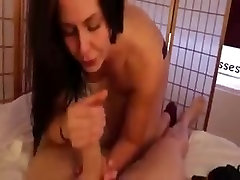 Brunette girl sucks dick and gets to taste the cum