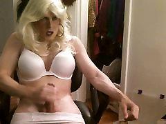Blonde hair, white bra and panties jerk off