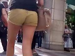 Hot ass in tan shorts