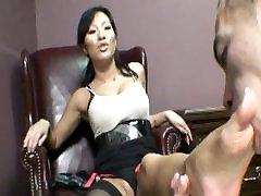 Dirty Asian secretary has a foot fetish