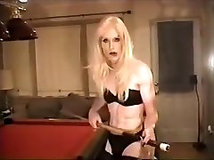 Hot Blonde Smokes On Pool Table And Strokes