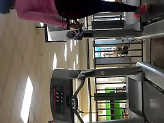 Ebony Milf in the gym