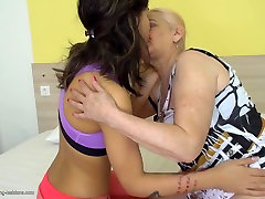 Old mom licks and fucks young daughter