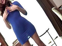Busty Ladyboy Blue Dress Barebacking