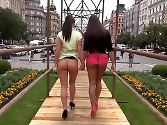 2 sexy kinky girls bottomless flashing public nude in town