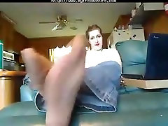Mature pantyhose foot joi