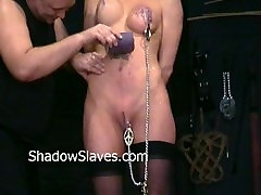 Busty Danii Blacks nipple torture and big tit clamping of amateur slave