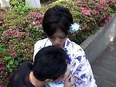 Japanese milf gives blowjob in public and ends up with a load in her mouth