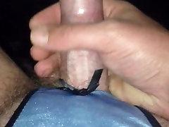 Cum shot wearing crotchless thong