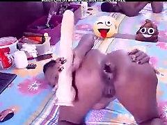 Real Amateur Hot Ebony Big Toy Deep Anal