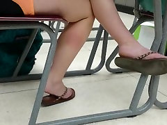 Candid White Feet in Class