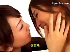 Japanese Lesbian Kiss and Face Licking