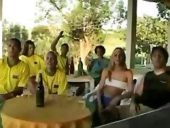Brazilian girl in white crew socks has sex in public
