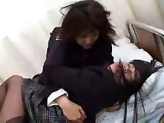 Japanese lesbians wild kissing and face licking