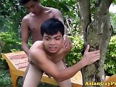 Pissing asian twink outdoor barebacks buddy