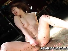 Skinny bitch has a bdsm session and a toy fuck