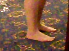Candid pantyhose feet at a function.