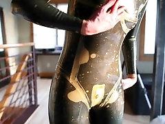 Layering latex catsuits