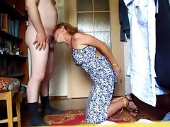 sex slave wife gives Master nice blowjob