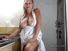 Hot blonde mature kitchen striptease