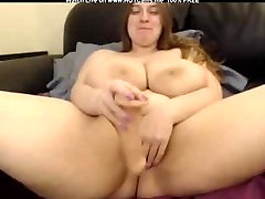 BBW With Huge Boobs Dildoing Her Hairy Pussy