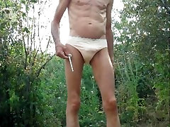 Outdoor Penis Plug, Self Anal Fist Fuck, and Shaved Cock Pissing