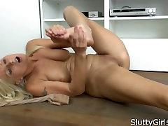 Vanessa Hell older women in her secretary outfit, sexy stockings masturbati