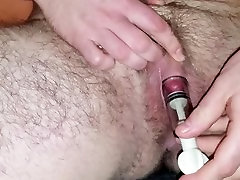Guy with pussy pumps his enlarged clit - Female to male transgender
