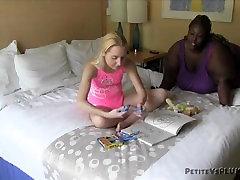 Black SSBBW spanks naughty little white girl