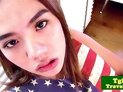 Asian ladyboy with braces dildo fucks her asshole