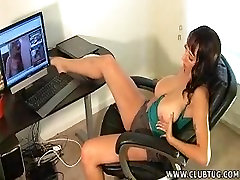 Big titted milf goes solo watching porn on her computer