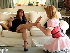 Hot blonde TGirl maid worships tranny mistress feet and then sucks big cock