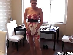 Samantha Snow nude mild dressing up in her flowery dress before her porn ha