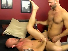 Two muscle hunks David Chase and Mitch Vaughn fooling around
