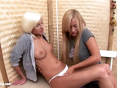 Hot lesbian blondes Nichol and Larissa from Sapphic Erotica hot lesbian act