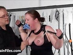Bbw slave RosieB tit tortured and sadistic amateur bdsm of fat masochist