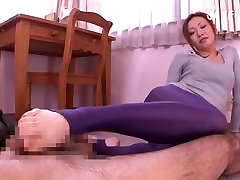 Asian mom in see through stockings & too short minidress turns the guys on!