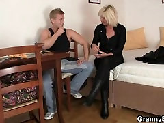 He helps old mature blonde woman