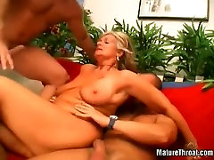 ugly Blonde mature whore knows how to handle to big cocks at the same time3
