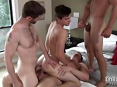 Gay group blowjob and hard anal bareback