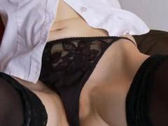 Black stockings and pussy masturbation