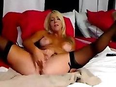Masturbating blonde beauty squirts