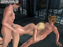 Foxy 3D kanada sex vodeos blonde shemale gets double teamed