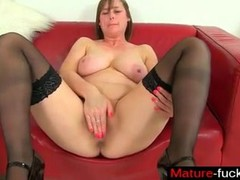 Find her on MATURE-FUCKS.COM - British milfs April and Red take a mas